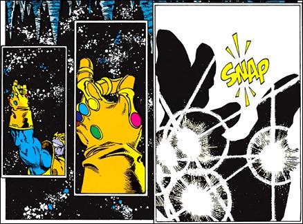 El famoso snap de Thanos, en los tebeos