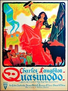 Cartel frances de la versión de 1939, curiosamente centrado en Esmeralda la zingara, que es como el film se llamo en España