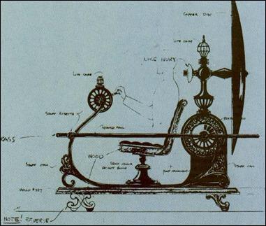 Dibujo para el diseño de la maquina en la pelicula de George Pal