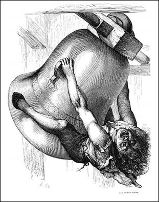 Quasimodo cuelga de las campanas, por Louis Steinheil