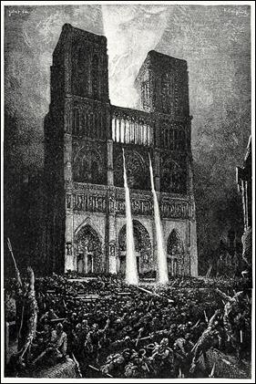 Quasimodo defiende Notre Dame de los truhanes de Paris