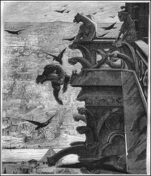 Quasimodo entre las gargolas, grabado de Merson para Nuestra Señora de Paris