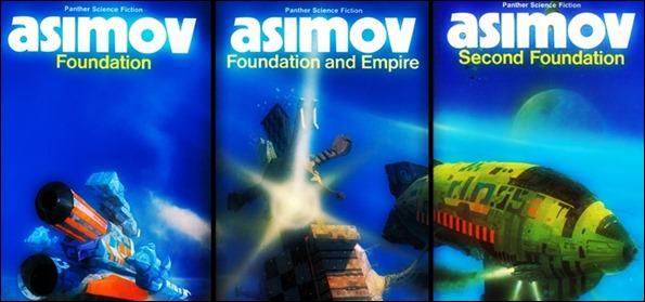 Otra triple portada inglesa de la Trilogía de la Fundacion
