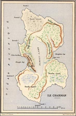 El mapa de la isla Chairman, escenario de Dos años de vacaciones