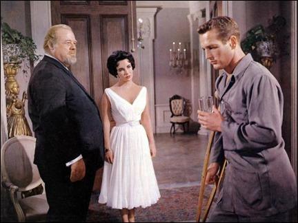 Burl Ives, Elizabeth Taylor y Paul Newman en La gata sobre el tejado de zinc