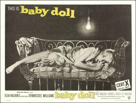 Poster de Baby Doll con la famosa imagen de Carroll Baker en la cuna