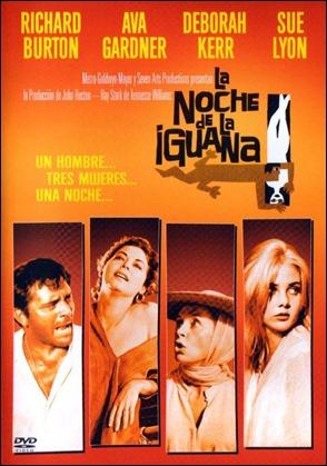 Cartel espanol de La noche de la iguana