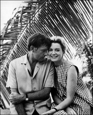 Richard Burton y Deborah Kerr en una foto del rodaje de La noche de la iguana