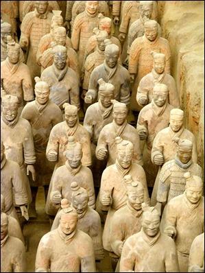 Los famosos soldados de terracota de la tumba del Primer Emperador