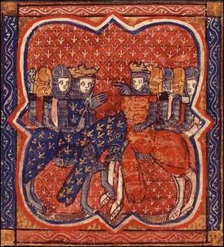 Ricardo y su rival Felipe II Augusto de Francia, en una miniatura de 1261