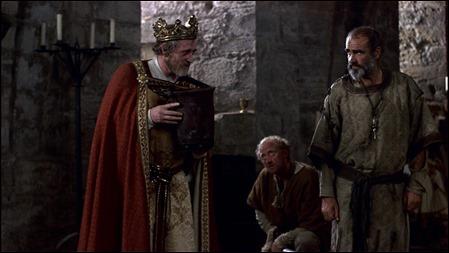 Richard Harris es Ricardo Corazon de Leon en Robin y Marian, con Sean Connery