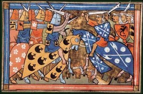 Cruzados y musulmanes, en una miniatura medieval
