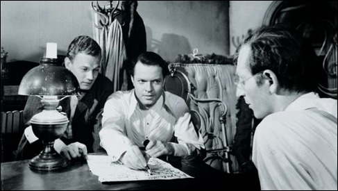 Welles, Cotten y Sloane, levantando el Inquirer en Ciudadano Kane