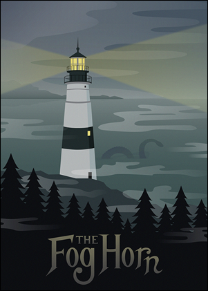 Bonita ilustración sobre La sirena en la niebla, de Bradbury