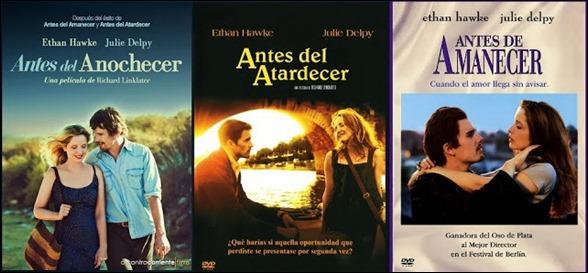 Los tres carteles originales de la trilogía Antes de