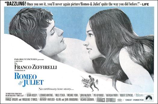Poster de Romeo y Julieta que incide en su contenido sensual