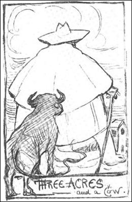 Caricatura, de espaldas, del mismo Chesterton, que nos hace imaginar como Syme vio a Domingo en un primer momento