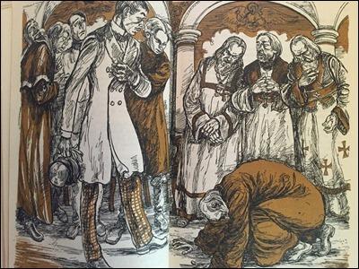 Ilustracion de William Sharp de Los hermanos Karamazov, con Dimitri y el starets Zosima