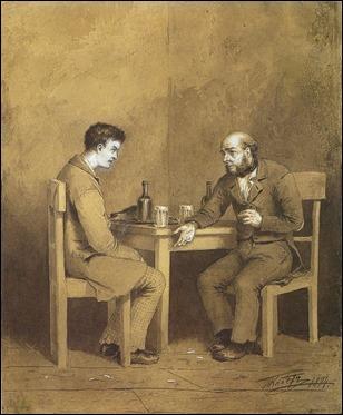 Raskolnikov hablando con Marmeladov, ilustración de Mijail Klodt para Crimen y castigo