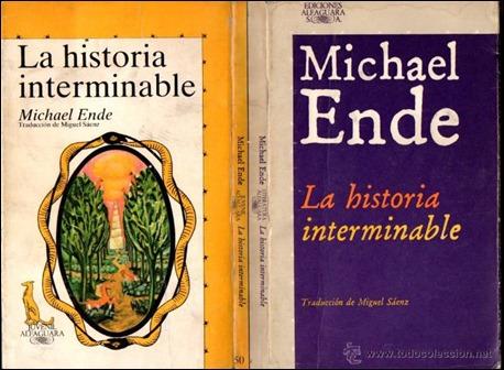 La cubierta de guardas de la primera edicion de La historia interminable, en Alfaguara
