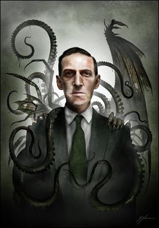Lovecraft y sus creaciones, ilustracion de Sam Shearon