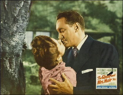 George Sanders como Miles Farley en un afiche de El fantasma y la senora Muir