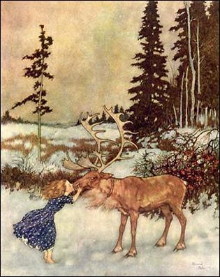 Gerda y el reno, por Edmond Dulac
