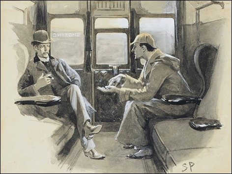 Sherlock Holmes con gorra de cazador